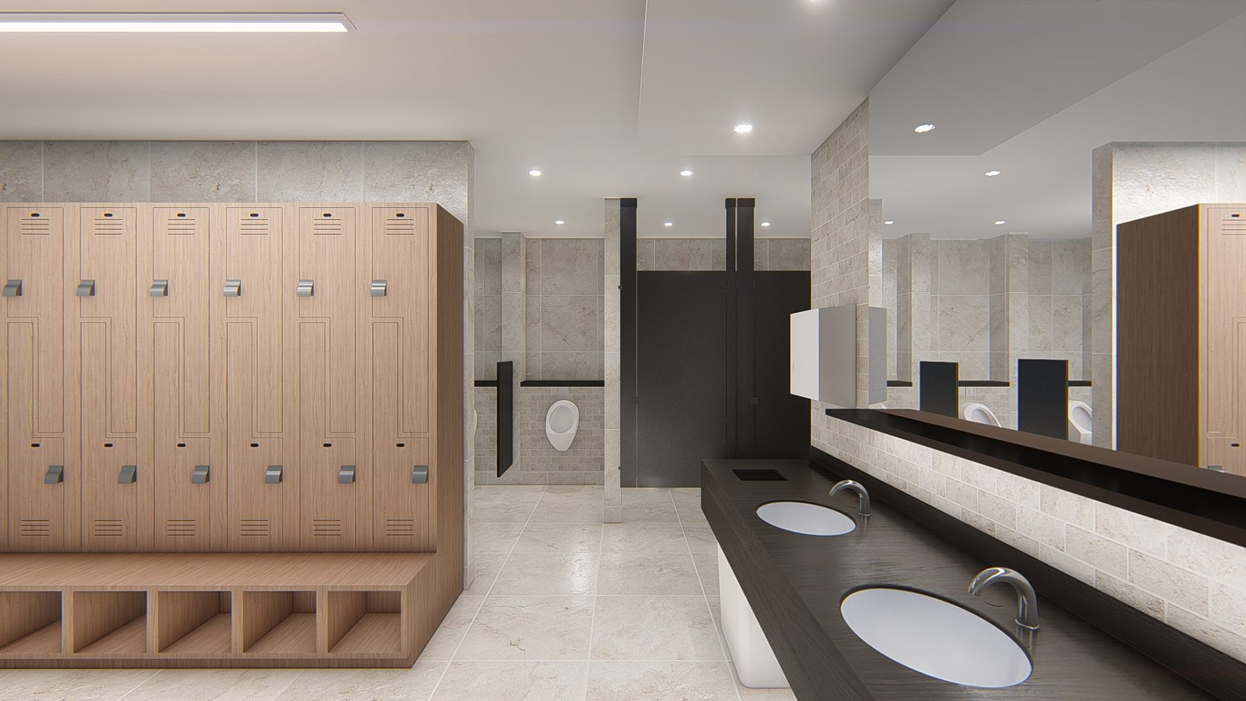 Interior Design for Changing Rooms, Restrooms and Recreation Zone Renovation