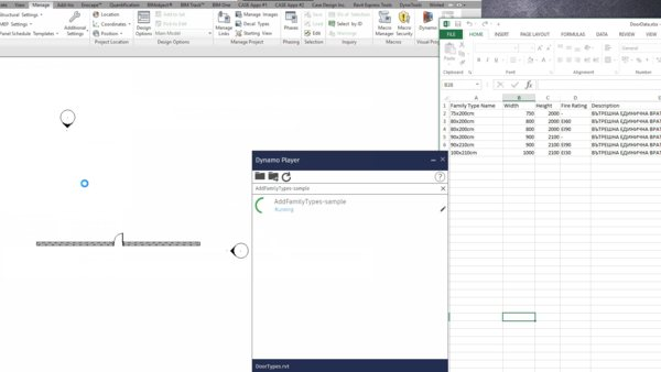Automating Revit family types creation using Dyanamo and Excel data