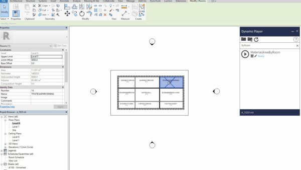 Get Room Finish Quantities with Dynamo to Excel