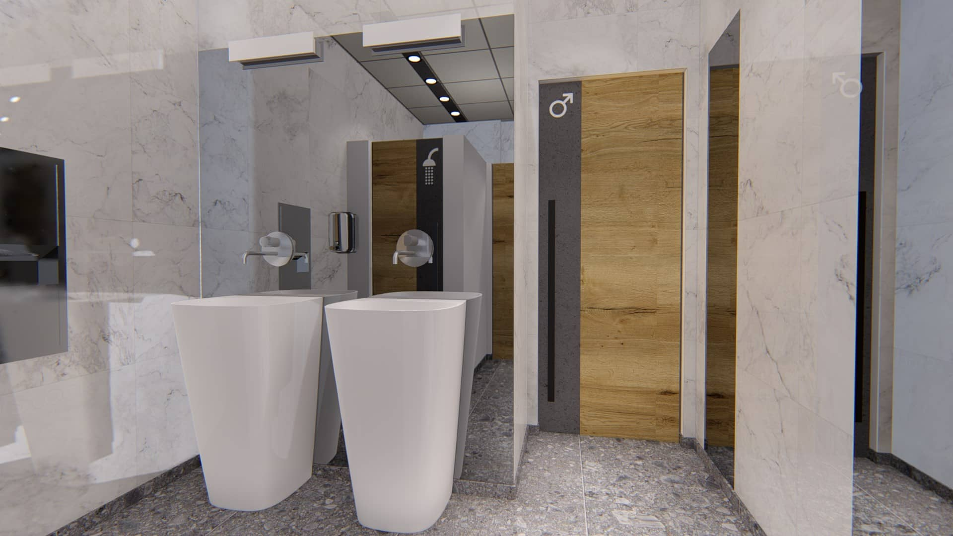 Restrooms in Office Building – BIM Project