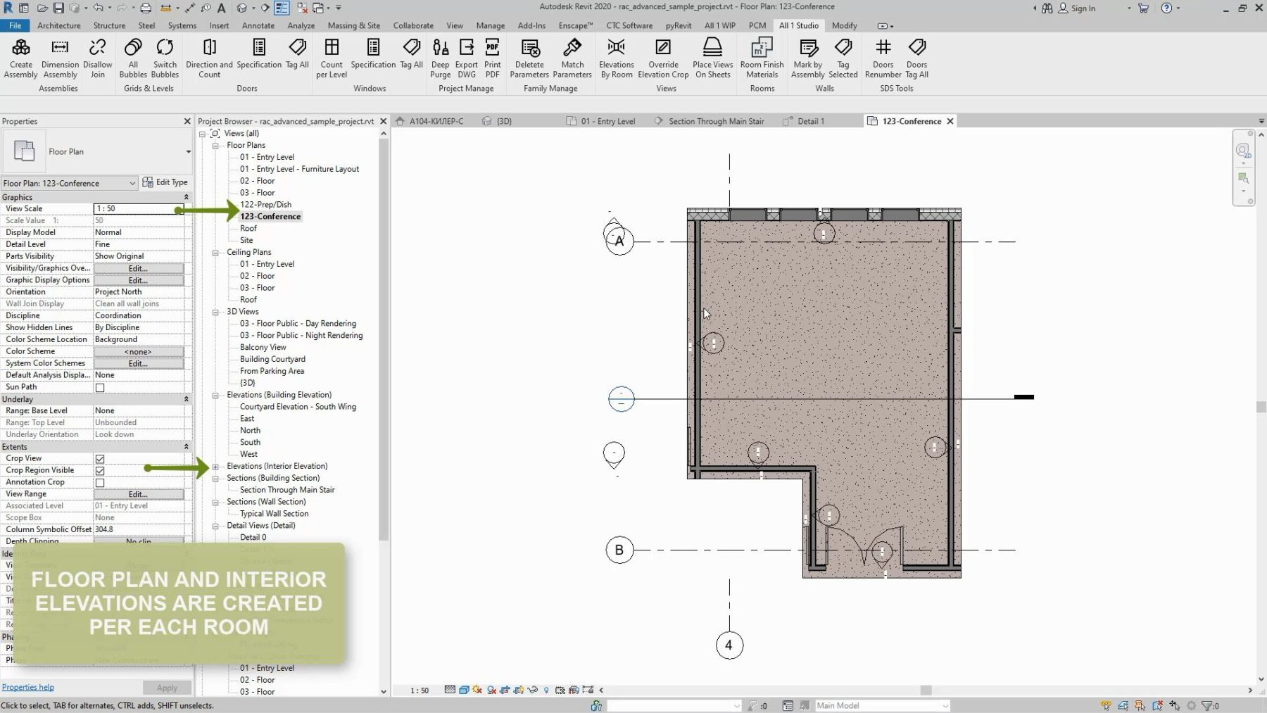 Revit Elevations And Floor Plan By Rooms